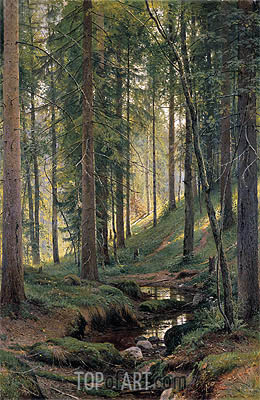 Stream by a Forest Slope, 1880 | Ivan Shishkin | Painting Reproduction
