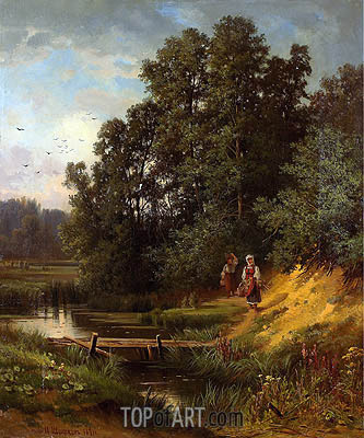 At the Creek, 1891 | Ivan Shishkin | Painting Reproduction