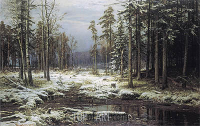 The First Snow, 1875 | Ivan Shishkin | Gemälde Reproduktion