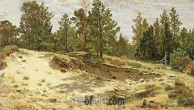 Young Pines on the Sandy Cliff, 1890 | Ivan Shishkin | Gemälde Reproduktion