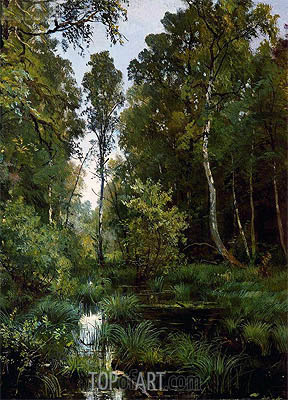 Overgrown Pond at the Edge of the Forest (Siverskaya), 1883 | Ivan Shishkin | Gemälde Reproduktion