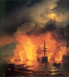 The Battle of Chesma, 25-26 June 1770 | Aivazovsky | Painting Reproduction