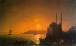 View of Constantinople by Moonlight | Aivazovsky | Painting Reproduction