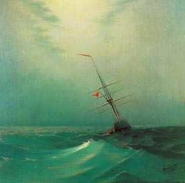 Night. A Blue Wave | Aivazovsky | Painting Reproduction