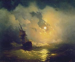 Storm on the Sea at Night, 1849 by Aivazovsky | Painting Reproduction