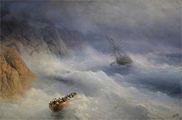 Storm at Cape Aja, 1875 by Aivazovsky | Painting Reproduction