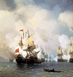 The Battle in the Straits of Chios, 24 June 1770, 1848 by Aivazovsky | Painting Reproduction