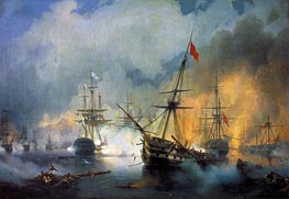 The Battle of Navarino, 20th October 1827, 1846 by Aivazovsky | Painting Reproduction