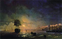 View Odesa in a Moonlight Night, 1855 by Aivazovsky | Painting Reproduction