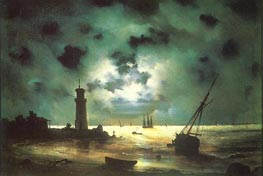 Seacoast at Night. At a Beacon, 1837 by Aivazovsky | Painting Reproduction