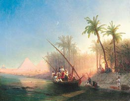 Boat on the Nile with Pyramids of Gizeh | Aivazovsky | Painting Reproduction