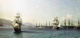 The Black Sea Fleet at Theodosia, 1890 by Aivazovsky | Painting Reproduction