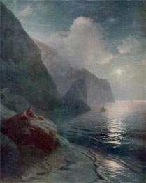 Pushkin by the Cliffs of Gurzuf in the Crimea | Aivazovsky | Painting Reproduction
