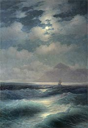 View of the Sea by Moonlight | Aivazovsky | Painting Reproduction