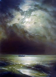 The Black Sea at Night, undated by Aivazovsky | Painting Reproduction