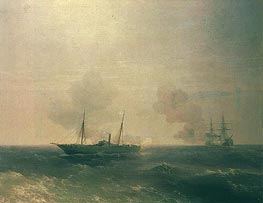 Action Between Vesta & Turkish Battleship in Sea | Aivazovsky | Painting Reproduction