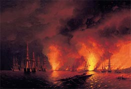 The Battle of Sinop, 18 November 1853 (The Night after the Battle), 1853 by Aivazovsky | Painting Reproduction
