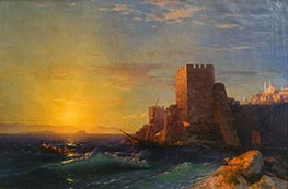 Towers on the Coast of the Bosphorus, 1859 by Aivazovsky | Painting Reproduction