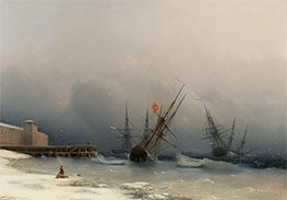 Storm Signal, 1851 by Aivazovsky | Painting Reproduction