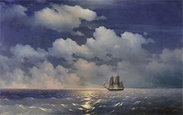 The Brig Mercury Returns to Russian Squadron, 1848 by Aivazovsky | Painting Reproduction