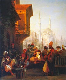 Coffee House by the Ortakoy Mosque in Constantinople, 1846 by Aivazovsky | Painting Reproduction