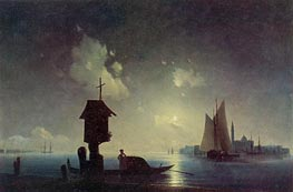Sea View with a Chapel on the Shore, 1845 by Aivazovsky | Painting Reproduction