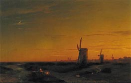 Landscape with Windmills, 1860 by Aivazovsky | Painting Reproduction