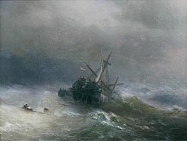 Lowering the Boats, 1878 by Aivazovsky | Painting Reproduction