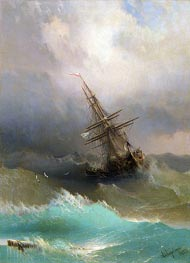 A Ship in the Stormy Sea, 1887 by Aivazovsky | Painting Reproduction