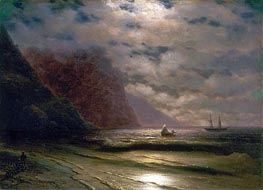 Rocky Seashore, 1876 by Aivazovsky | Painting Reproduction