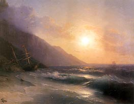 Shipwreck at Sunset, 1878 by Aivazovsky | Painting Reproduction
