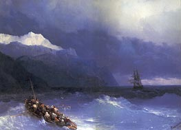 Rescue at Sea off a Mountainous Coast | Aivazovsky | Painting Reproduction