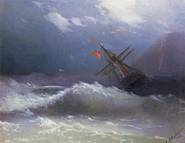 Ship in a Stormy Sea, 1858 by Aivazovsky | Painting Reproduction