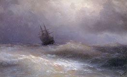 Ship in a Stormy Sea | Aivazovsky | Painting Reproduction