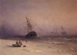 Shipwreck on the Black Sea, 1875 by Aivazovsky | Painting Reproduction