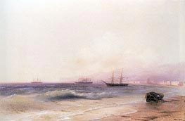 View of the Coast at Theodosia, 1878 by Aivazovsky | Painting Reproduction