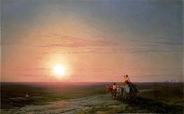 Peasants Returning from the Fields at Sunset, undated by Aivazovsky | Painting Reproduction