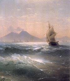 Italian Shipping off Vesuvius, 1879 by Aivazovsky | Painting Reproduction