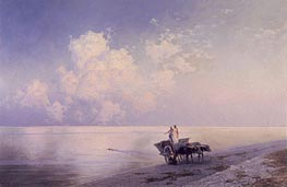 An Ox-drawn Cart by a Tranquil Sea and a Swimmer Beyond, 1886 by Aivazovsky | Painting Reproduction