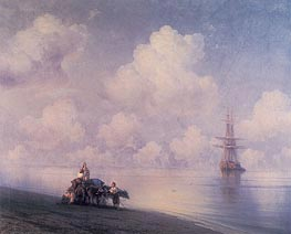 The Ox Cart on the Beach | Aivazovsky | Painting Reproduction