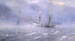 Shipping in a Frozen Stormy Sea, 1886 by Aivazovsky | Painting Reproduction