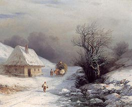Little-Russian Ox Cart in Winter, 1866 by Aivazovsky | Painting Reproduction