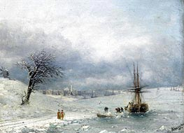 Winter Landscape, 1874 by Aivazovsky | Painting Reproduction