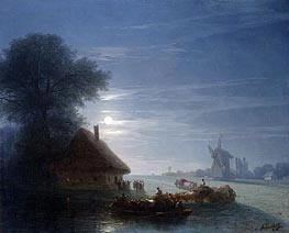 Ukrainian Landscape at Night | Aivazovsky | Painting Reproduction