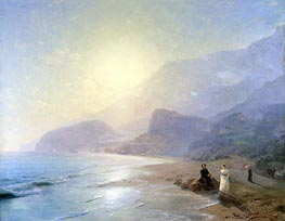 Pushkin and Countess Raevskaya by the Sea near Gurzuf and Partenit, 1886 by Aivazovsky | Painting Reproduction