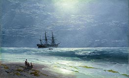 Moonlit Landing, 1895 by Aivazovsky | Painting Reproduction