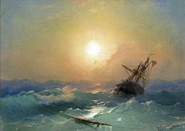 A Ship in Distress, 1865 by Aivazovsky | Painting Reproduction