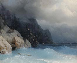 Survivors of a Shipwreck on a Rocky Path | Aivazovsky | Painting Reproduction
