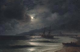 On the Coast at Night, 1875 by Aivazovsky | Painting Reproduction