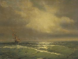 Sunlit Waves, undated by Aivazovsky | Painting Reproduction